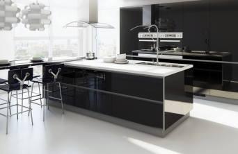 barra americana en forma de isla en cocina moderna